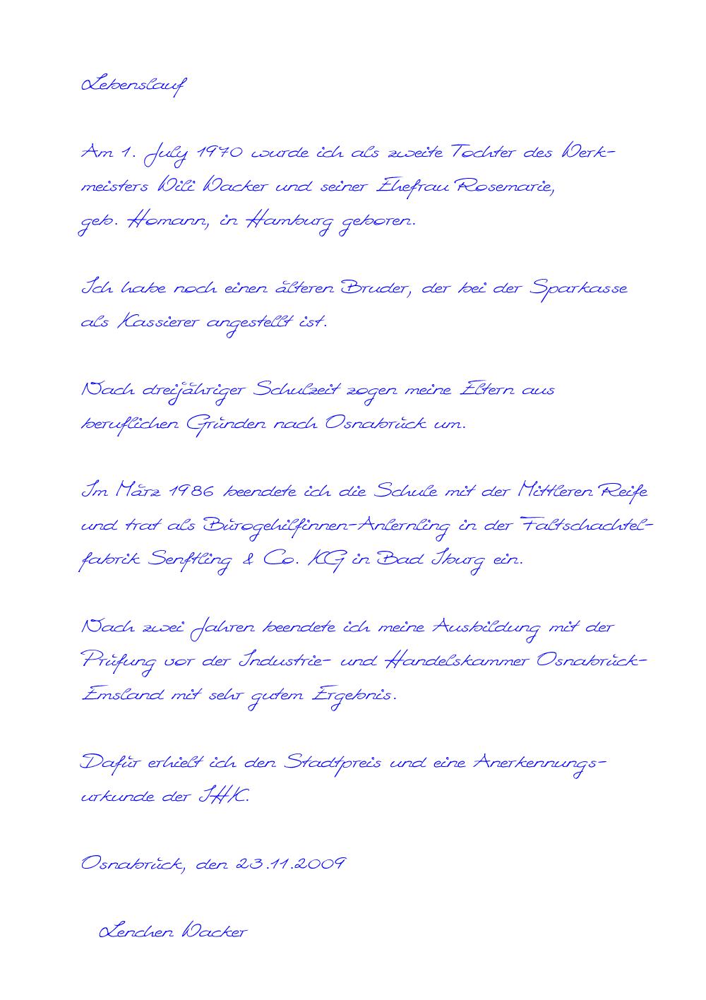 Atemberaubend Handgeschriebene Lebenslauf Vorlage Zeitgenössisch ...