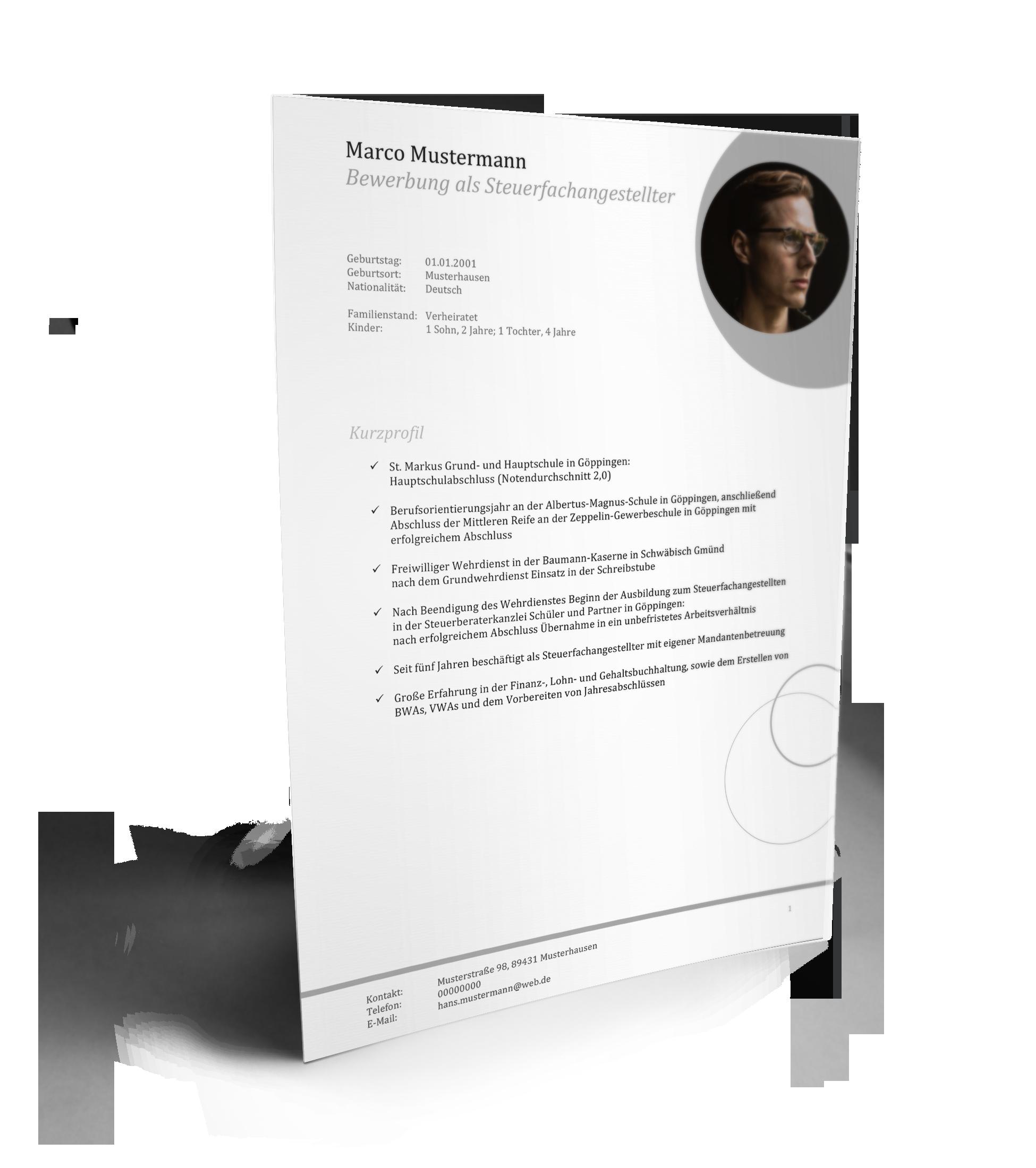 Lebenslauf-Muster für eine Fachangestellte kostenlos runterladen: