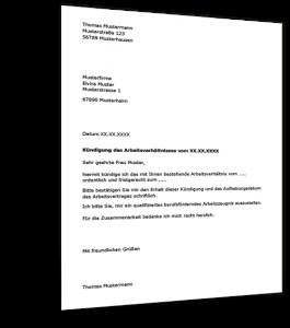 Kündigung Arbeitsvertrag Muster