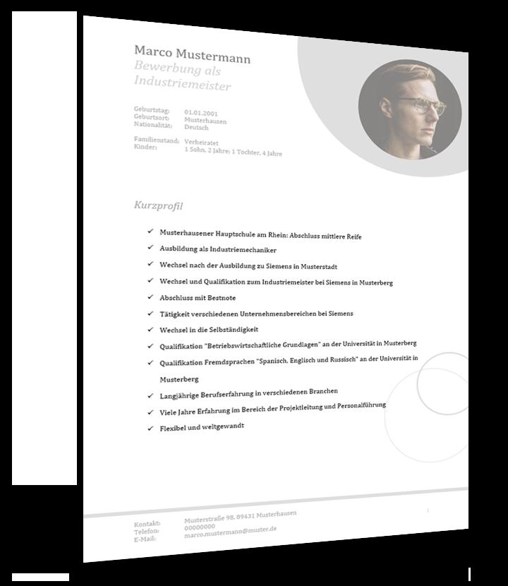 Bewerbung Und Lebenslauf Muster Als Industriemeister